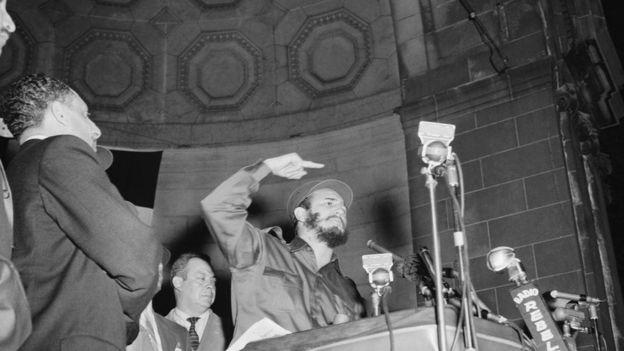 Fidel Castro discursa no Central Park em Nova York