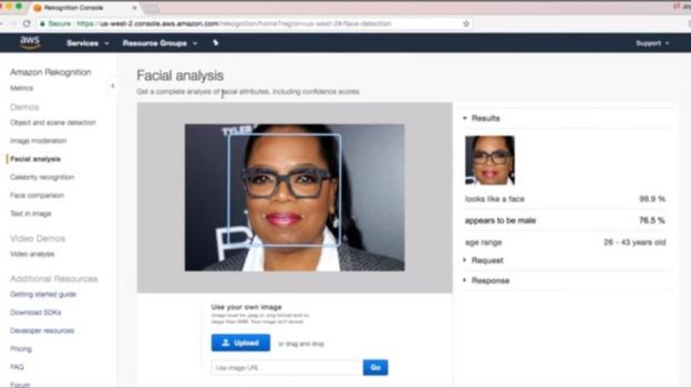 Amazon facial recognition tool analysing US star Oprah Winfrey and saying she is 76.5% likely to be a man