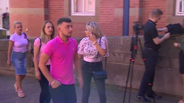 Members of Keeley Bunker's family arriving at Stafford Crown Court