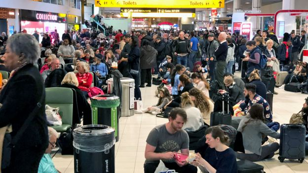 Crowds inside Gatwick Airport