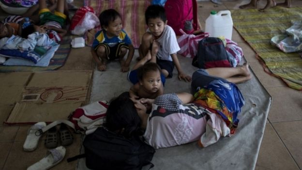 A Filipino family at an evacuation site