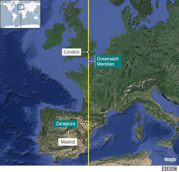 Map showing position of Zaragoza and the Greenwich Meridian