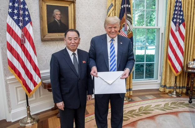 Donald Trump stands with Kim Yong-chol