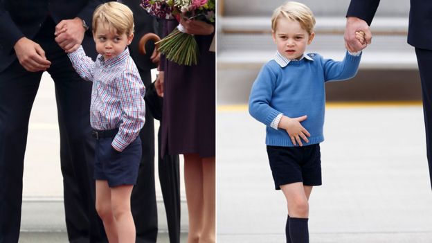 Two Images Of Prince George Wearing Shorts
