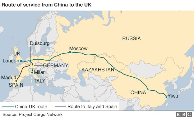 india to china train route map All Aboard The China To London Freight Train Bbc News india to china train route map