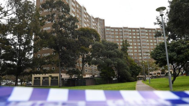 A view of the affected public housing towers in Melbourne