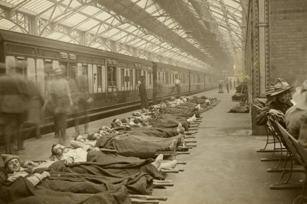 Injured men and hospital train