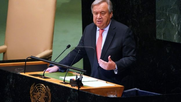 UN Secretary General Antonio Guterres addresses the 73rd session of the General Assembly at the United Nations in New York, 25 September 2018