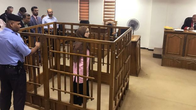French jihadist Djamila Boutoutaou is tried at the central penal court in Baghdad on 17 April 2018