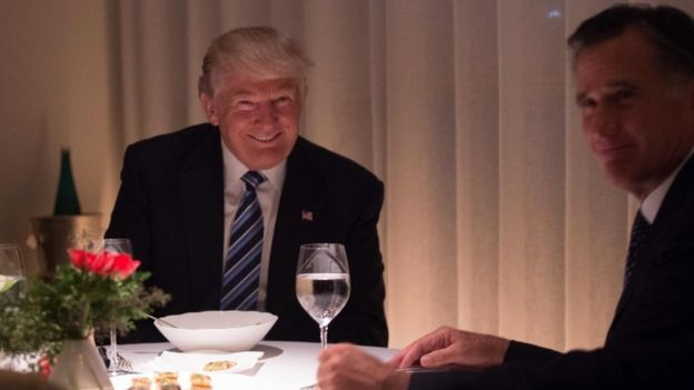 Donald Trump and Mitt Romney at dinner together