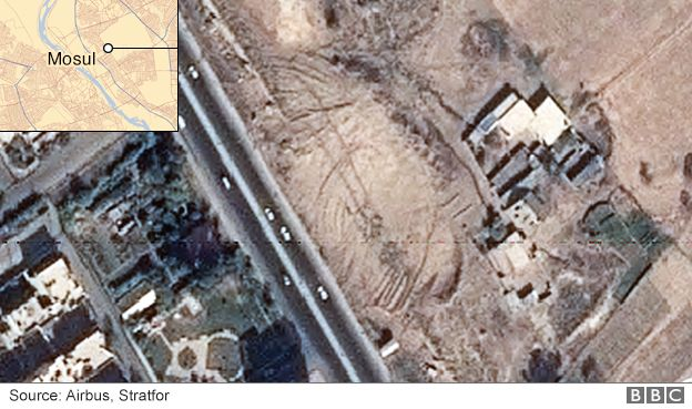 Satellite image showing damage to the ancient Assyrian site of Nineveh