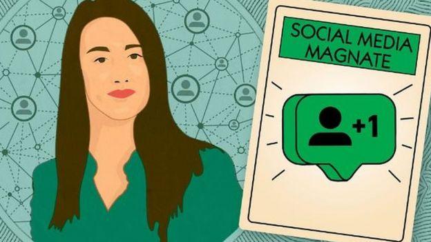 Dibujo de mujer con una carta que dice Social Media Magnate.