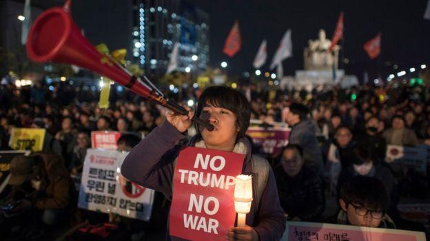 Biểu tình chống Tổng thống Mỹ ở Seoul hôm 7/11