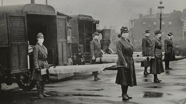 Profissionais de saúde durante a gripe espanhola em St. Louis