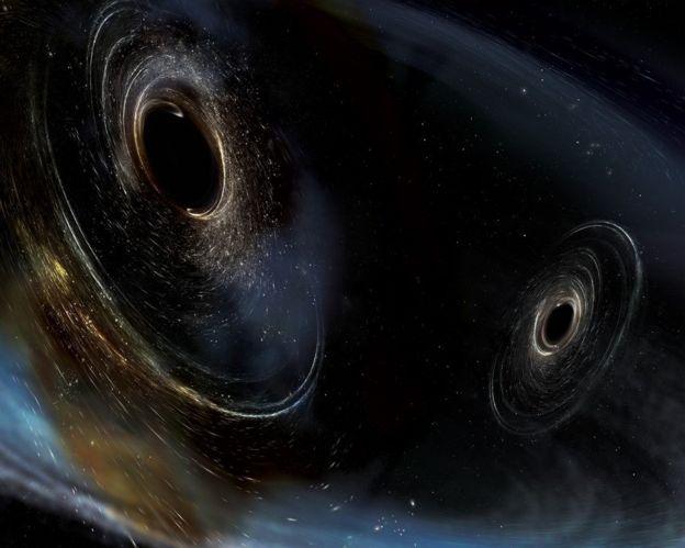 Ilustración de dos agujeros negros a punto de chocar.