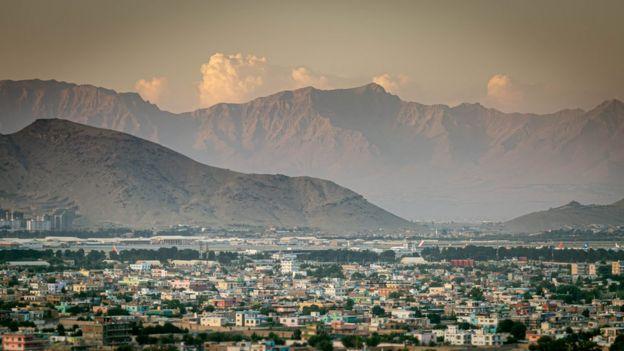 El atardecer sobre el panorama de Kabul