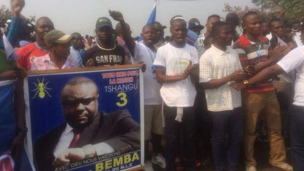 Des partisans de Bemba venu l'accueillir