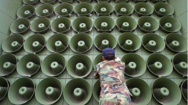 Hệ thống loa phát thanh của Nam Hàn gần Khu Phi Quân sự