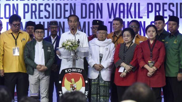 Jokowi dan tim partai pendukung