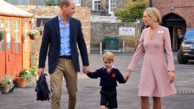 Prince William and Prince George were greeted by head of lower school Helen Haslem
