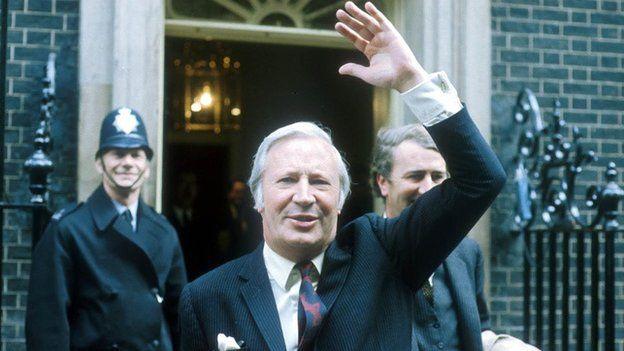 Sir Edward Heath outside 10 Downing Street