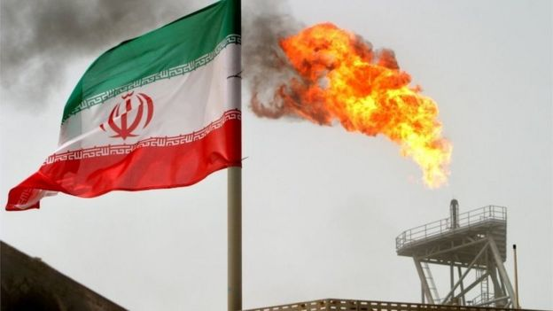 Iranian flag in an oil camp in the Gulf.