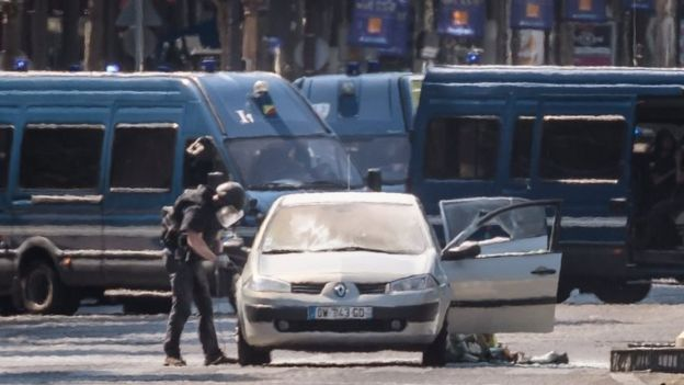 A police operation is under way on the Champs Elysees avenue after a car collided a with a police vehicle in Paris, France, 19 June 2017.