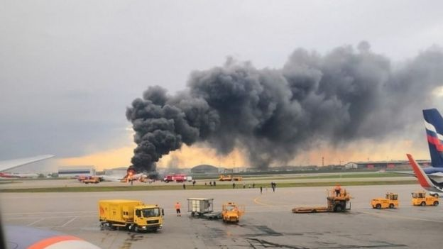 Russian plane catches fire in Moscow