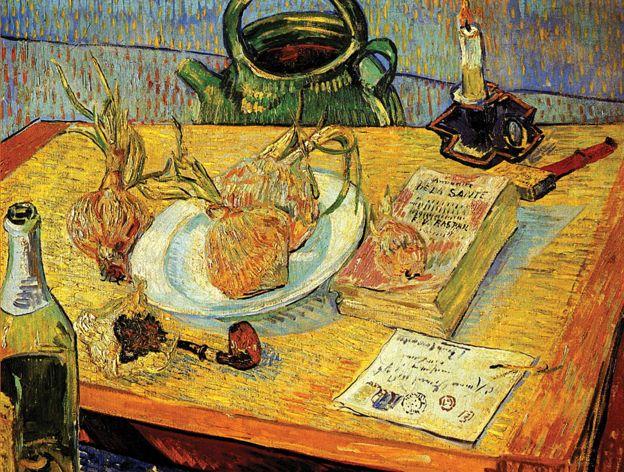 """""""Garrafa com cachimbo, cebolas e cera"""", de Vincent van Gogh"""