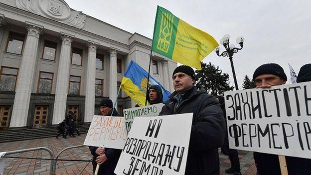 Протесты под стенами Верховной Рады Украины против продажи земли