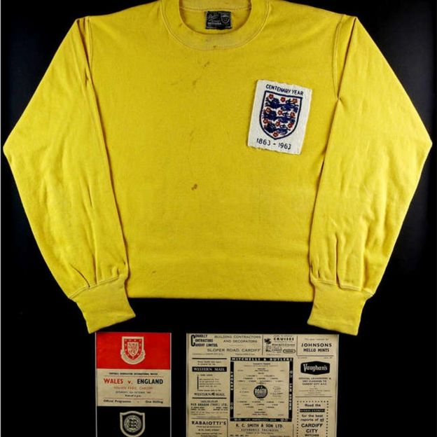 5d6f00745 Gordon Banks  Shirt from 1963 Wales game sells for £4