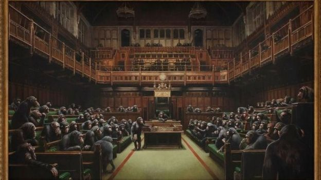 تابلوی بنکسی از پارلمان واگذار شده بریتانیا در اوایل ماه جاری حدود ۹.۹ میلیون پوند فروخته شد