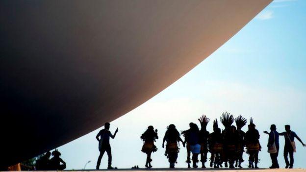 Indigenas protestam em Brasília