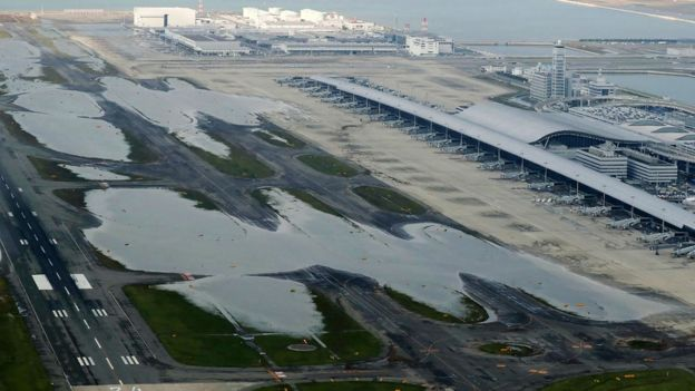 Aerial photo of airport with flooded runways