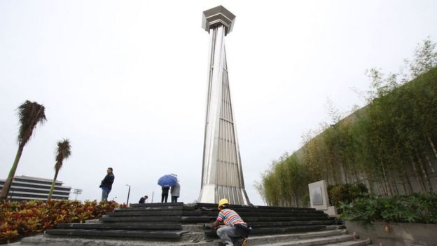 This photo shows workers preparing steps leading to the cauldron tower at the athletics stadium for the SEA games