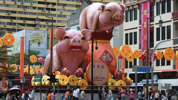 Pig decorations for the upcoming Lunar New Year in Chinatown, Singapore