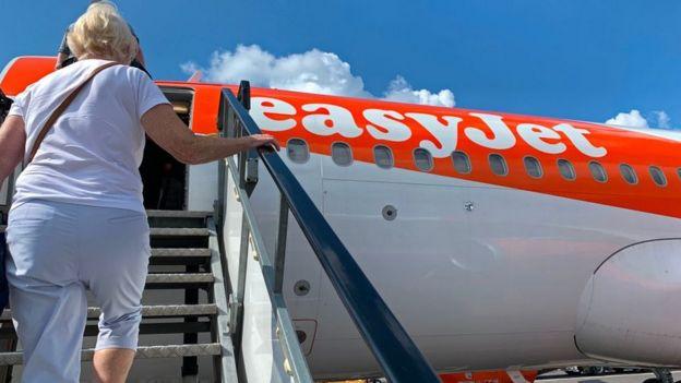Passenger boarding Easyjet jet