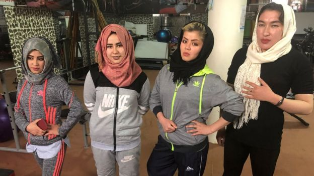 Afghan women in the gym