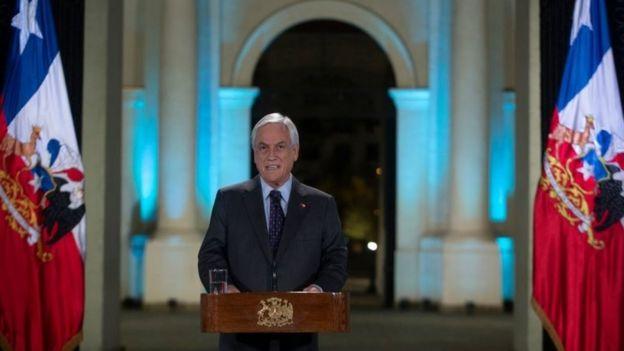 Chilean President Sebastian Pinera addresses the nation in Santiago, on November 17, 2019