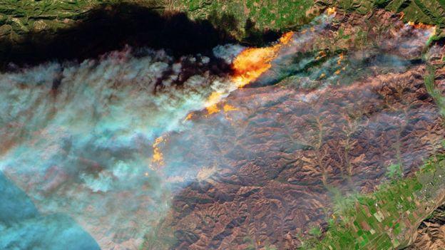 عکس ماهواره ای از آتش سوزی