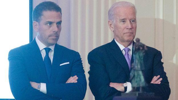 Hunter Biden junto a su padre, el ex vicepresidente de EE,UU., Joe Biden.