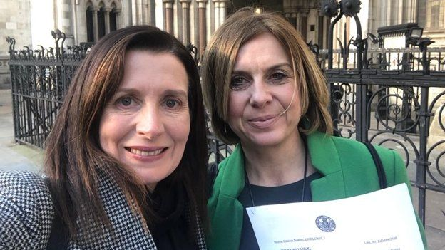 Pip Wilson and Kate Daly outside the High Court