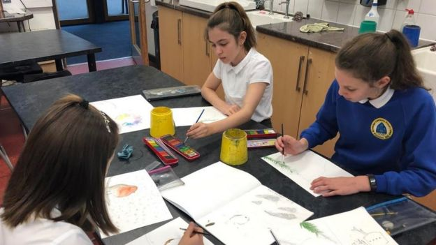 Year 6 group in art lesson