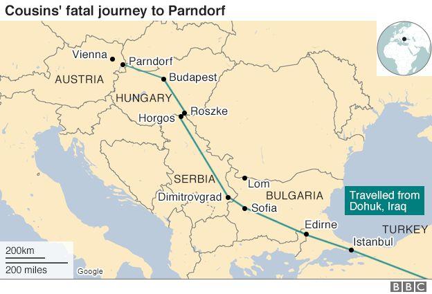 Map from Turkey to Austria