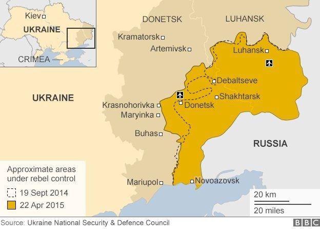 Rebel territory in eastern Ukraine - map