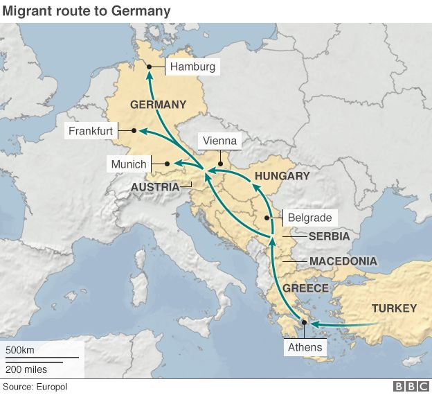 Europe migrants tracing perilous balkan route to germany bbc news map gumiabroncs Gallery