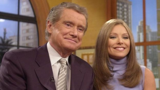 Regis Philbin with new host, Kelly Ripa, in 2001