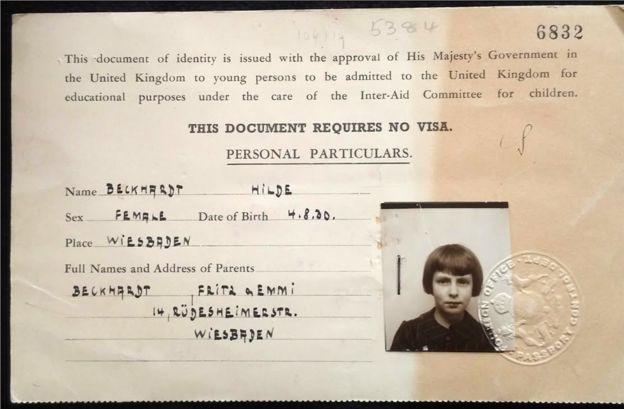 Documento do 'Kindertransport' de Suse Beckhardt