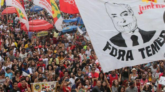 Protesta contra el presidente Temer