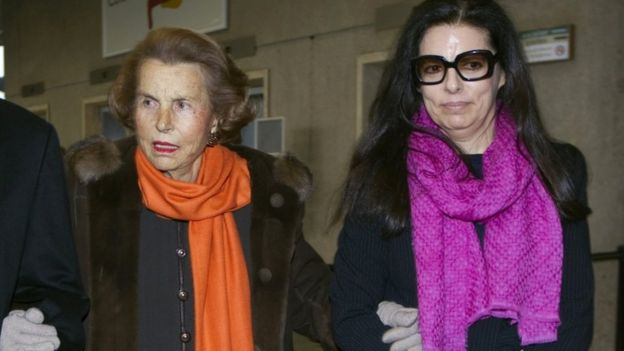Liliane Bettencourt and her daughter Francoise Bettencourt Meyers pictured in 2011